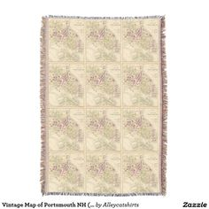Vintage Map of Portsmouth NH (1892) Throw Blanket
