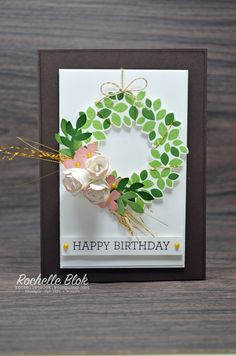 By Rochelle Blok, Stampin' Up! Homemade Birthday Cards, Homemade Cards, Making Greeting Cards, Greeting Cards Handmade, Scrapbooking, Scrapbook Cards, Wondrous Wreath, Cardmaking And Papercraft, Card Sketches