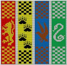 Hogwarts bookmarks free knitting patterns Harry Potter | Free Harry Potter Inspired Knitting Patterns at http://intheloopknitting.com/harry-potter-knitting-patterns/