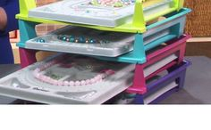 Tips for organizing your beading work space | BeadStyleMag.com *office supply STACKING TRAYS - measure!