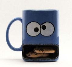 Cookie monster mug. Too cute. I always loved him more than Elmo.