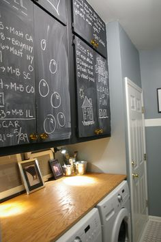 Using chalkboard paint on laundry room cabinets