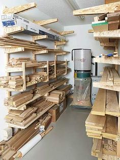 Separate Room for wood storage and dust collector. Wood Shop Organization | Readers Best Lumber Racks