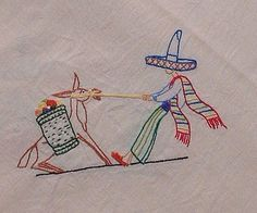 Tablecloth Mexican & Donkey Cotton/Linen Medium by PeppersHouse Hand Embroidery Stitches, Vintage Embroidery, Hand Stitching, Handkerchief Crafts, Vintage Tablecloths, Thrown Pottery, Donkey, Cotton Linen, Etsy Store
