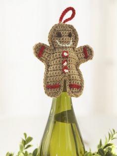 Gingerbread Man Wine Topper | Yarn | Free Knitting Patterns | Crochet Patterns…