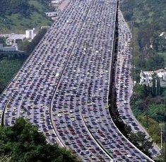 The world's longest traffic jam. Beijing, China.  60 miles long.  It lasted 11 days!