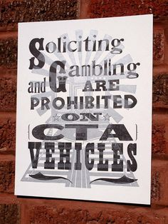 Soliciting and Gambling Chicago CTA Letterpress by monkeyrope, $20.00
