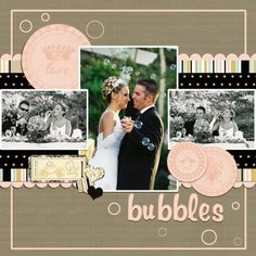 Love collection in digital format. Wedding scrapbook layout