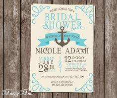 Nautical Bridal Shower Invitation, Cruise Themed Invitation, Anchor Invite, Wedding Shower, Digital, Printable by MaxandMaeInvites on Etsy https://www.etsy.com/listing/238093554/nautical-bridal-shower-invitation-cruise