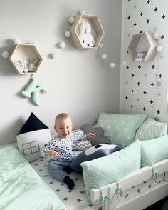 stylish & chic kids room decorating ideas for girls & boys 18 < Home Design Ideas Baby Bedroom, Baby Boy Rooms, Baby Room Decor, Nursery Room, Kids Bedroom, Baby Room Design, Toddler Rooms, Photo Instagram, Bebe Baby