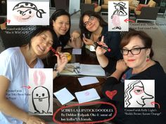 Lipstick doodles at #LA14SCBWI with Kat Yeh, Joyce Wan, Amber Alvarez and Kelly Light.