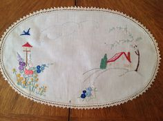 My first embroidery at age 10 by Margaret Roberts