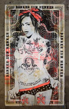 Mittenimwald is a street artist from Hamburg Germany, is inspirations are aggressive advertising, provocation and punk. Art Nouveau Mucha, Graffiti, Fantasy Rpg, Street Artists, Artsy Fartsy, Art Girl, Pop Art, Art Drawings, Stencils