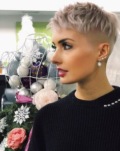 """Shaved sides lovely color """"There is Somthing special about wome Short hair styles I'm a big fan of Pixie cuts and styles with asymmetry, Enjoy the many dif Pixie Hairstyles, Pixie Haircut, Cool Hairstyles, 27 Piece Hairstyles, Edgy Haircuts, Shaved Pixie, Shaved Hair, Super Short Hair, Short Hair Cuts"""