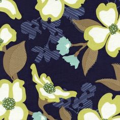Fabric... Modern Meadow Dogwood Bloom Lake blue by Joel Dewberry
