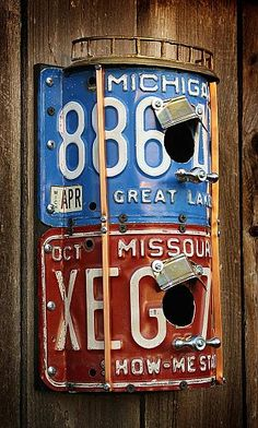 Two-Story Double Duplex Blue & Red License Plate Repurposed Upcycled Metal Birdhouse