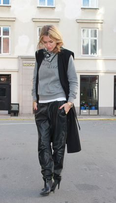 """.Love the leather """"sweat pants"""""""