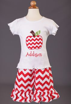 Southern Tots Red Chevron Apple Capri Set  www.facebook.com/Southerntots