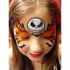 Red Pumpkin face paint kit can help you with reproducing this design. Halloween Face Paint Designs, Easy Halloween Face Painting, Halloween Makeup For Kids, Kids Makeup, Fete Halloween, Face Painting Designs, Halloween Crafts, Kids Skeleton Face Paint, Makeup Art