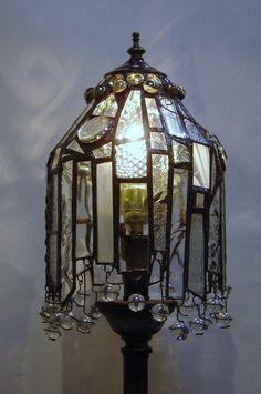 lámpara  de cristal y bronce