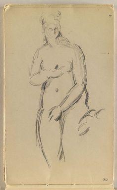 Inventaire du département des Arts graphiques - Croquis de femme nue d'après une statue antique - CEZANNE Paul