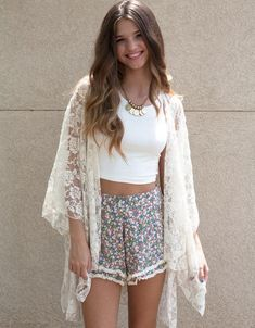 3/4 Sleeves Lace Floral Transparent Bikini Cover Up