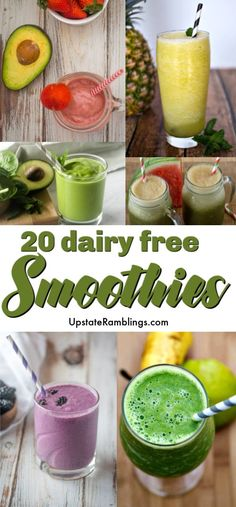 This collection of Healthy Dairy Free Smoothies has something for everyone! These easy smoothies use fruits and vegetables to make delicious drinks for snacks and breakfast without dairy products Lactose Free Smoothies, Non Dairy Smoothie, Vegetable Smoothies, Fruit Smoothie Recipes, Healthy Breakfast Smoothies, Easy Smoothies, Yogurt Free Smoothies, Smoothie Recipe Without Milk, Healthy Snacks