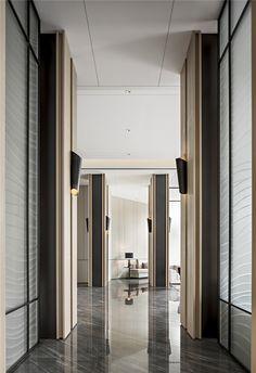 Marvelous Home Corridor Design Ideas That Looks Modern 05 Lobby Interior, Interior Architecture, Interior And Exterior, Corridor Design, Corridor Ideas, Wall Design, House Design, Hotel Corridor, Corridor Lighting