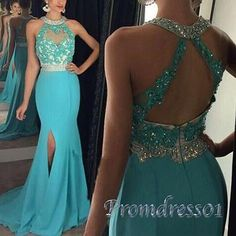 Elegant halter prom dress, ball gown, 2016 blue chiffon sequins long prom dress with slit