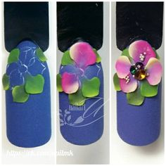 3d Nail Art, 3d Acrylic Nails, Rose Nail Art, Rose Nails, Nail Art Hacks, Polygel Nails, Bling Nails, Uñas One Stroke, Silk Nails
