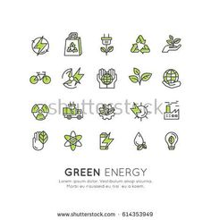 Vector Icon Style Logo Set Design of environment, renewable energy, sustainable technology, recycling, ecology solutions. Website, mobile app design, electric car,bio technology, package, solar power