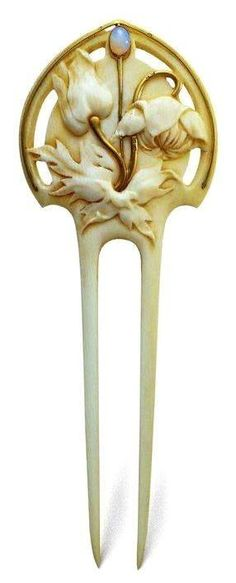 Hair Jewelry Acessories An Art Nouveau ivory, opal and gold chignon comb, by Edmond-Henri Becker, French, circa x Opal Jewelry, Jewelry Art, Antique Jewelry, Vintage Jewelry, Jewelry Design, Jewellery, Wedding Jewelry, Gold Jewelry, Vintage Hair Combs