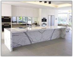 Ideas For Kitchen Marble Island Modern Marble Top Kitchen Island, White Marble Kitchen, Kitchen Island Decor, Modern Kitchen Island, Kitchen Tops, Home Decor Kitchen, Kitchen Furniture, Kitchen Islands, Kitchen Ideas