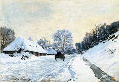 Claude Monet la charrette route sous neige honfleur
