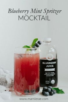 This Blueberry mint spritizer is a very easy summer mocktail! Made with blueberry juice, lime juice and club soda and garnished with a sprig of mint and a lime wedge. Make it for your summer parties. Easy Mocktail Recipes, Drink Recipes Nonalcoholic, Non Alcoholic Cocktails, Summer Drink Recipes, Summer Drinks, Summer Parties, Mocktail Bar, Best Mocktails, Blueberry Juice