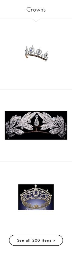 """""""Crowns"""" by shulabond ❤ liked on Polyvore featuring tiaras, accessories, crowns, jewelry, antique jewellery, pearl jewellery, antique pearl jewellery, sapphire jewelry, antique jewelry and hair accessories"""