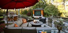 Patio with large TV