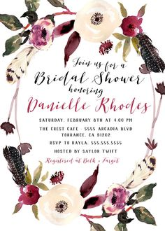 Boho Floral Bridal Shower, Feather, Cranberry, Flowers, Calligraphy Baby Shower Invites  CLICK TO SHOP.