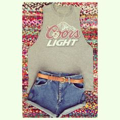 Coors light tank reconstructed and denim cutoffs stagecoach outfit concert inspiration country thunder