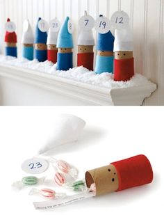 Countdown to Christmas | Toilet Paper tube Elves Advent Calendar. Is a Way too cute with these little Elves to help you counting down to Christmas! Made with toilet paper rolls and place an idea of an activity written on piece of paper inside and wrap. #ChristmasAdventCalendar #TickledMummyClub