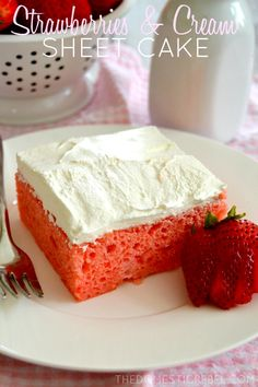 This super-moist, super-easy Strawberries and Cream Sheet Cake will become a family favorite in no time!