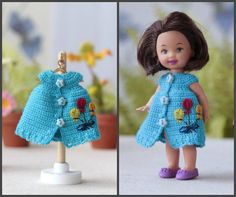 Dollhouse clothing crochet  DRESS  for 4 inch  Kelly  dolls. Doll clothing