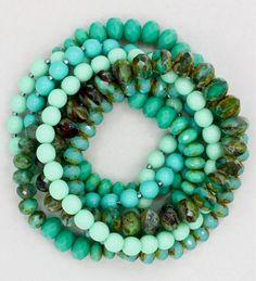 Multi-strand turquoise, aqua, mint green bracelets. Love!