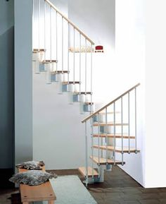 adjustable staircase beech with white metal