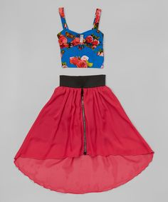 Citlalis Choice Blue & Fuchsia Floral Tank & Hi-Low Skirt - Girls | zulily - Boasting a colorful floral tank and matching hi-low skirt, this ensemble offers cuties a stylish look for fair-weather days. The removable rhinestone brooch adds a sparkly finishing touch.