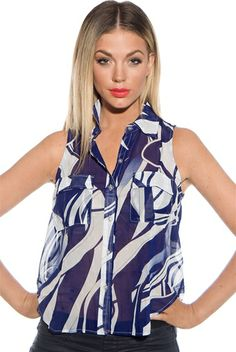 High Flyer Sleeveless High Low Button Up Chiffon Top - Blue from DNA at Lucky 21