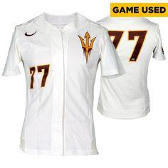 Arizona State Sun Devils Fanatics Authentic Game-Used White #77 Softball Jersey used during the 2014-2015 Season - Size Medium - $39.99
