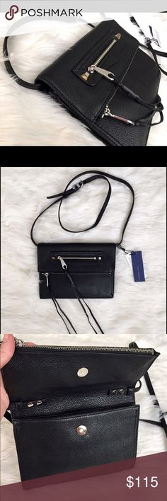 """Rebecca Minkoff Small Regan Clutch Everything in the Regan line brings instant class to any outfit (or life) and this clutch is no exception. The fold-over-style clutch is so right now, and this one's topped off with two fringe-tipped zippers, an optional strap, and two storage compartments. Wear it dancing, dating, drinking, or midnight movie-ing.                      9.7""""W X 7""""H X 1""""D; 100% leather;  23"""" strap; 2 exterior pockets; 1 interior phone pocket;  custom silver hardware; Rebecca…"""
