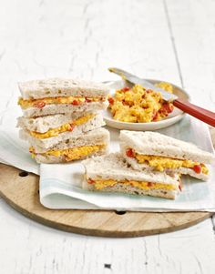 These delicious finger sandwiches get their bite from sharp Cheddar cheese, cayenne pepper, and horseradish. #superbowl #recipes