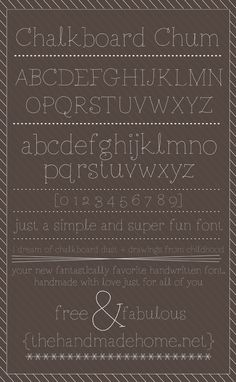 Several really cute and fun free fonts designed especially for you/us all to use. The Handmade Home.